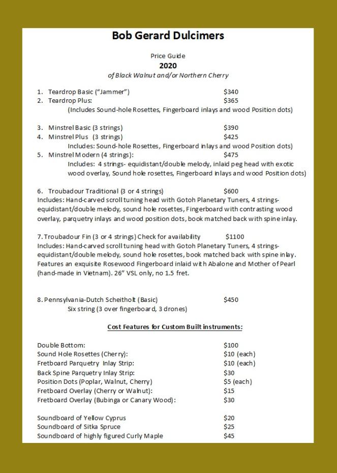 2020 price menu